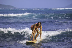 Free Girl In Pink Bikini Surfing Stock Images - 18883104