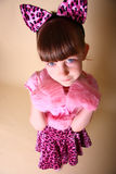 Girl In Pink Kitten Outfit Stock Photos