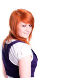 Girl In Red Hair Isolated Over White