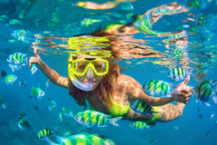 Free Girl In Snorkeling Mask Dive Underwater With Coral Reef Fishes Stock Images - 88318704