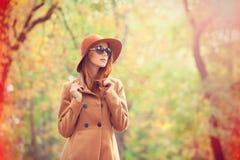 Girl In The Autumn Park. Stock Photo