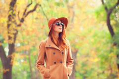 Girl In The Autumn Park. Royalty Free Stock Images