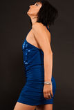 Girl In The Blue Evening Dress Royalty Free Stock Photography