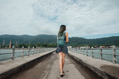 Girl In The Dress Is Walking On The Pier. Back View. Dyed Hair Stock Image