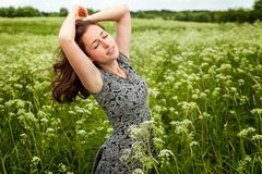 Girl In The Field Royalty Free Stock Photo
