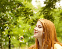 Free Girl In The Park Under Soap Bubble Rain. Stock Image - 20276141