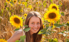 Girl In The Sunflower Field Royalty Free Stock Images