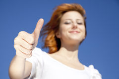 Girl In White Which Show Hand V Symbol. Stock Photography