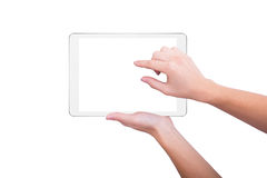 Girl increases the picture on the screen of the tablet Stock Image
