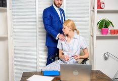 Girl indecent behavior. Abusive boss. Sexual harassment in business office. royalty free stock photos