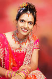 A Girl From India. A profile and portrait of a beautiful Indian girl in pink and red marriage dress Royalty Free Stock Image