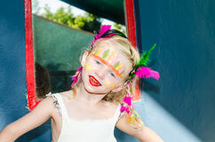 Girl with indian face painting Royalty Free Stock Photography