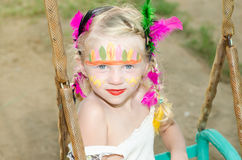 Girl with indian face painting Royalty Free Stock Images
