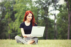 Girl in indie style clothes with notebook Royalty Free Stock Photos