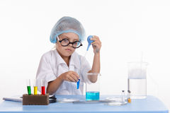Girl infatuated laboratory experience Stock Photo