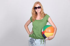 Girl with inflatable beach ball Royalty Free Stock Photos