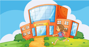Girl infront of school. Illustration of a girl running infront of school Stock Images