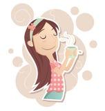 Girl inhale the aroma of tea. Cartoon girl inhale the aroma of tea from cup Stock Photo