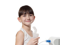 Girl inhaled. Portrait of young caucasian girl using inhaler isolated on white Royalty Free Stock Photography