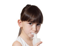 Girl inhaled Stock Photography