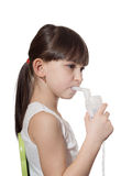 Girl inhaled. Portrait of young caucasian girl using inhaler isolated on white Stock Photos