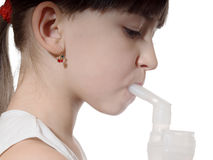 Girl inhaled. Portrait of young caucasian girl using inhaler isolated on white Royalty Free Stock Photo