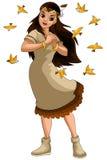 Girl injun birds clipart cartoon style  illustration white Royalty Free Stock Photo
