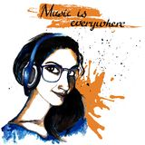 Girl ink hipster music Stock Photos