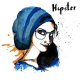 Girl ink hipster Stock Image