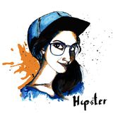 Girl ink hipster Stock Photo