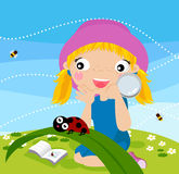 Girl and insect Stock Photos