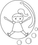 Girl inside a bubble coloring page. Useful as coloring book for kids Stock Image