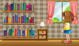 A girl inside the house with a collection of books Royalty Free Stock Photography