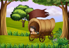 A girl inside the wagon Royalty Free Stock Photography