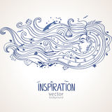 Girl inspiration. Conceptual illustration with inspiration girl with long wave hair Royalty Free Stock Image