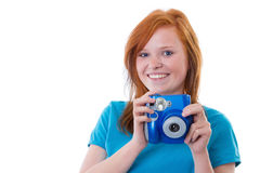Girl with instant camera Stock Photos