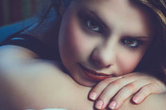 Girl with intense look Royalty Free Stock Photo