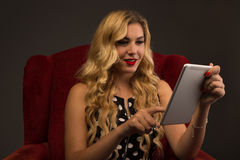 Girl Interacting with Tablet stock images