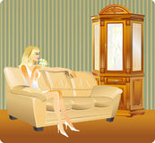 Girl in interior. Illustration of girl in interior Royalty Free Stock Photos