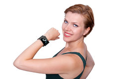 Girl with an Internet Smart Watch isolated on white Royalty Free Stock Photography