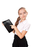 Girl with ipad like gadget Royalty Free Stock Photo