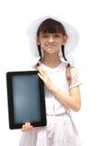 Girl with ipad like gadget isolated white background Stock Image