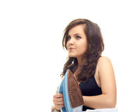 Girl with the iron. Girl with an iron isolated on white background Stock Photography