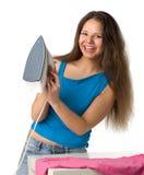 Girl with  iron Stock Photos