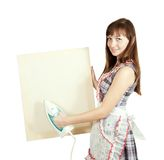Girl in with iron and banner Stock Photos