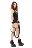 Girl with iron chains Royalty Free Stock Image