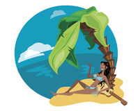 Girl from the island vector. Girl relaxing  in an island Royalty Free Stock Images