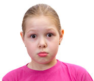The girl isolated on white. Emotions Royalty Free Stock Image
