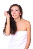 Girl isolated on white - make-up Stock Photo