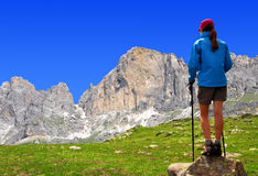 Girl in the Italy Alps. On the background Rosengarten Royalty Free Stock Photos